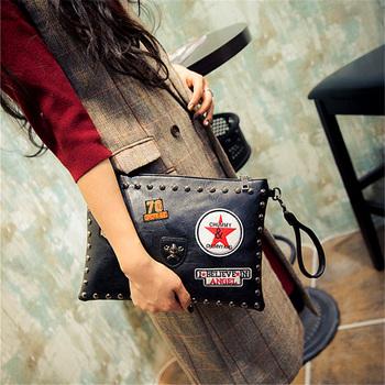 Искусственная кожа дамы мода значки заклепки конверт пакет клатч сумки сумка через тело сумка три цвета