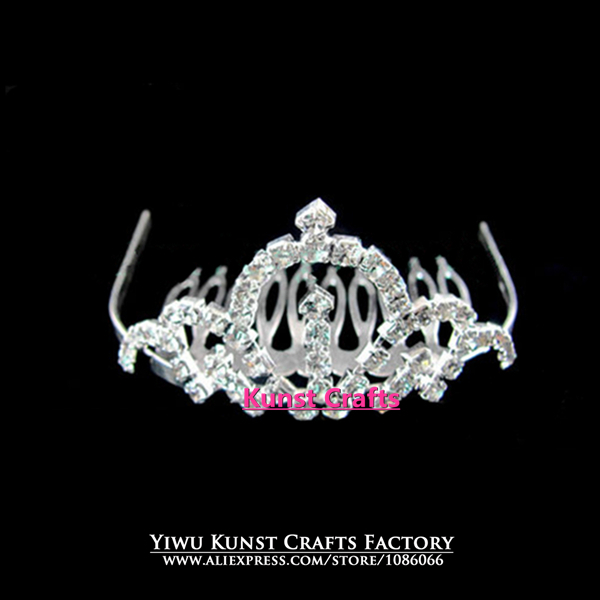Silver Crystal 60 pieces lot Wholesale Pageant Baby Crowns Tiaras FC036(China (Mainland))