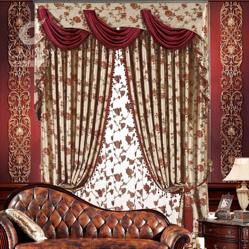 Aliexpresscom Buy Luxury Fashion Europe Gauze Curtains Blackout Home Decor Full Curtain Quality Thickening Sun Shading