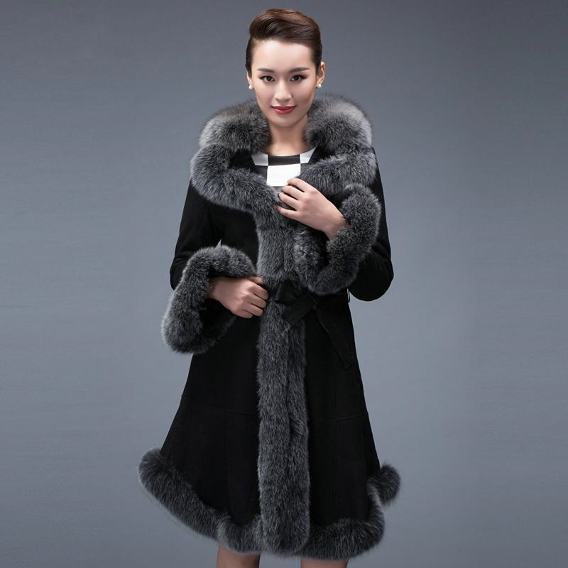 Winter New Fashion Women's fur coat,Slim lamb wool sheepskin fur coat fox fur collar Ladies' long fur jacket overcoat FQ8234