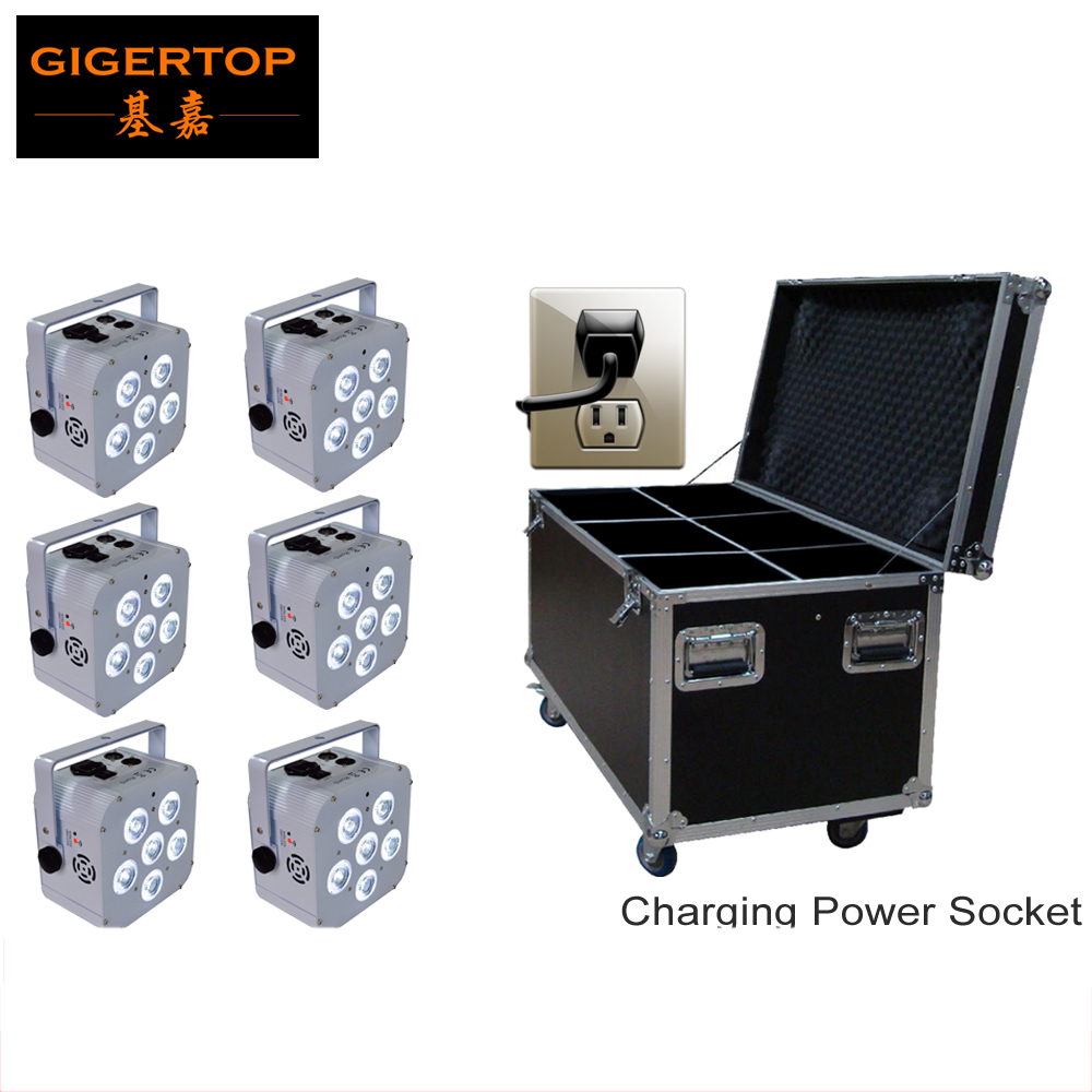 Freeshipping Charging Flight Case Packing 6XLOT White Case 6*18W 6in1 RGBWA UV Wireless DMX Remote Led Par Cans Big Size Battery(China (Mainland))