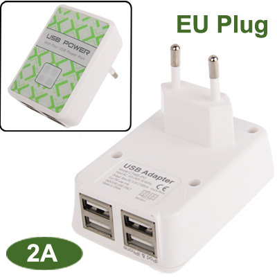 *5V/2A EU Plug USB Power Adapter Charger 4 USB Power Port for iPhone 5 iPhone 4S Samsung i9500 Other Mobile Phone Digital Camera