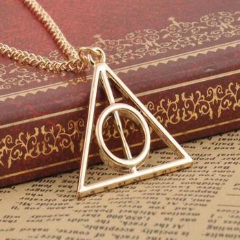 Popular Harry Potter Deathly Hallows Pendant Necklace Movie Trendy Jewelry Long Chain Triangle Necklace 3 Colors
