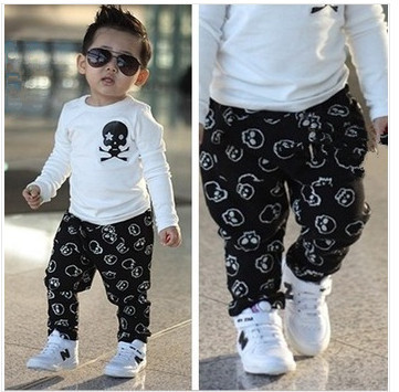 Boys clothes Fashion Skull Heads kids clothes baby boy clothes clothing set menino children clothing vetement enfant kid sets(China (Mainland))