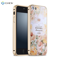 For Apple iPhone 5S Luxury Aluminum Metal Frame+3D Plastic Relief Print Back Cover Case For iPhone 5 5S Mobile Phone Bag Case(China (Mainland))