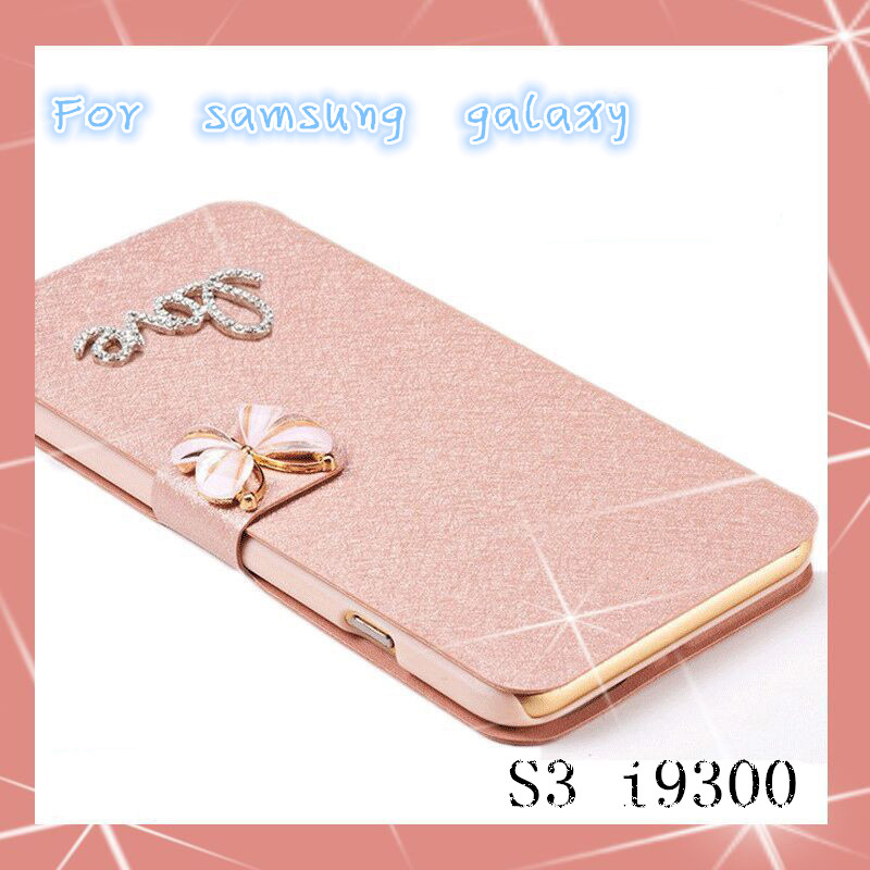 Luxury PU Leather Flip Case Cover For Samsung Galaxy S3 i9300 Case Cell Phone Case Cover with diamond(China (Mainland))