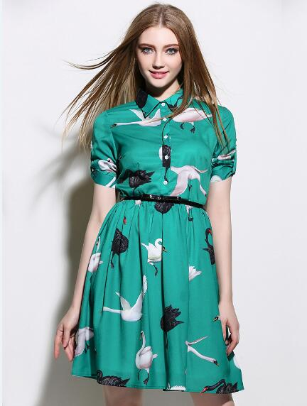 2016 summer new runway lapel printing swan short sleeve dress send Free belt(China (Mainland))