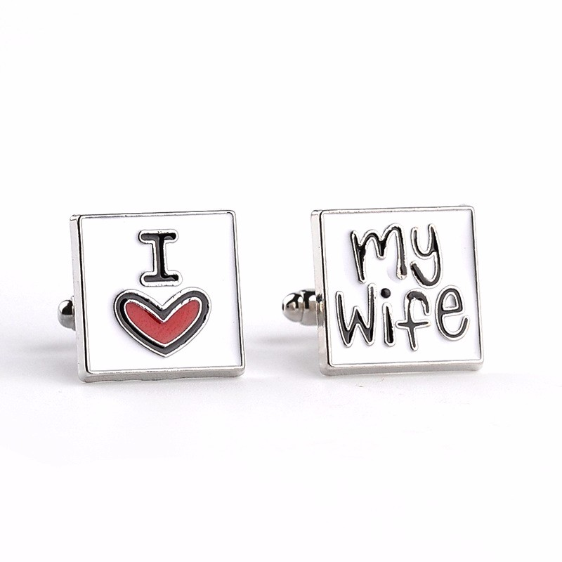 2016 New I Love My Wife Cufflinks Husband Anniversary Wedding Gift Valentine's Day Cuff links