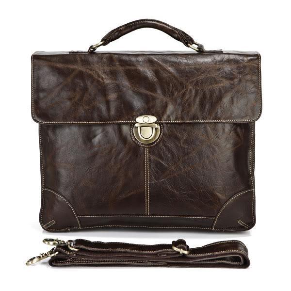 ซื้อ คุณภาพวินเทจจริงกระเป๋าหนังแท้ผู้ชายMessengerกระเป๋าหนังวัวพอร์ตการลงทุนนักธุรกิจกระเป๋าเดินทาง# VP-J7091