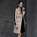Winter Women British Women Runway Street Casual Bodycon Coat Double Breasted Long Patchwork FashionTrench High Quality