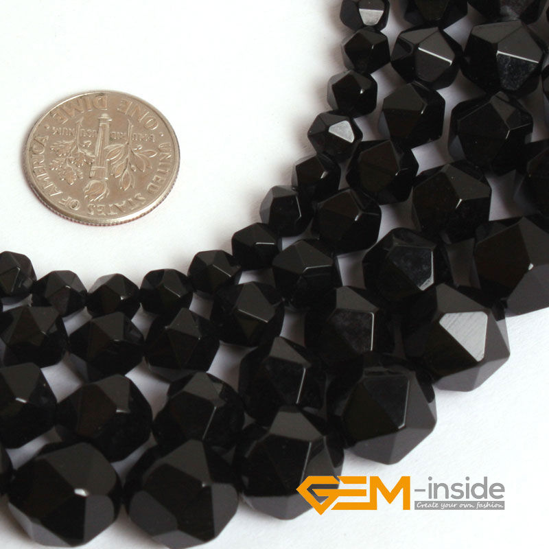 Faceted Black Carnelia n Stone Beads Cambay Natural Stone Beads DIY Loose Beads Jewelry Making Strand 15 Inches Store)
