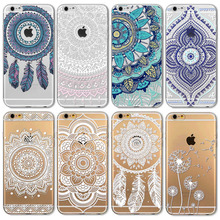 "Buy IPhone 6 6s 4.7"" Transparent Soft TPU Case Cover NEW Flower Painted Pattern Phone Case Henna White Floral Paisley Mandala for $1.34 in AliExpress store"