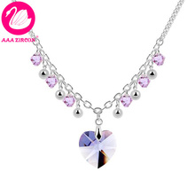 Quality Women's Heart & Beads Style Purple Crystal Necklace Made With Swarovski Elements, Come With A Necklace Box! (8958)(China (Mainland))