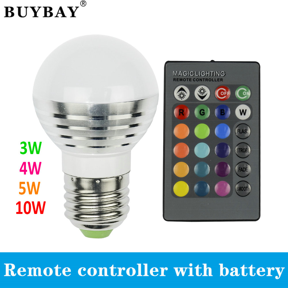 3W 4W 5W 10W RGB LED Lamp E27 Spotlight Lampada LED Bulb 85-265V Christmas Lanterna Bombillas remote controller with battery(China (Mainland))