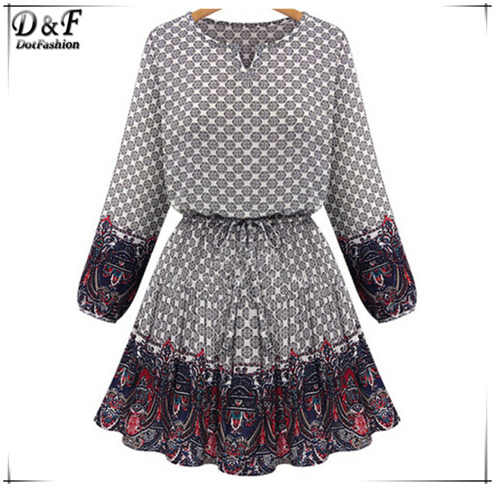 2015 New Sweet Beige V Neck Vintage Floral Print Pleated Long Sleeve Sashes Women Above Knee Casual Summer Dress(China (Mainland))