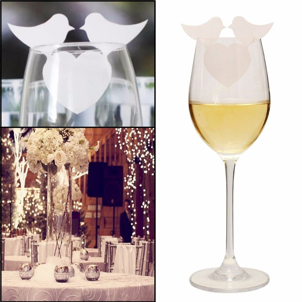 50 laser cut heart bird wine glass card name place cards wedding bridal shower table dinner party decorations