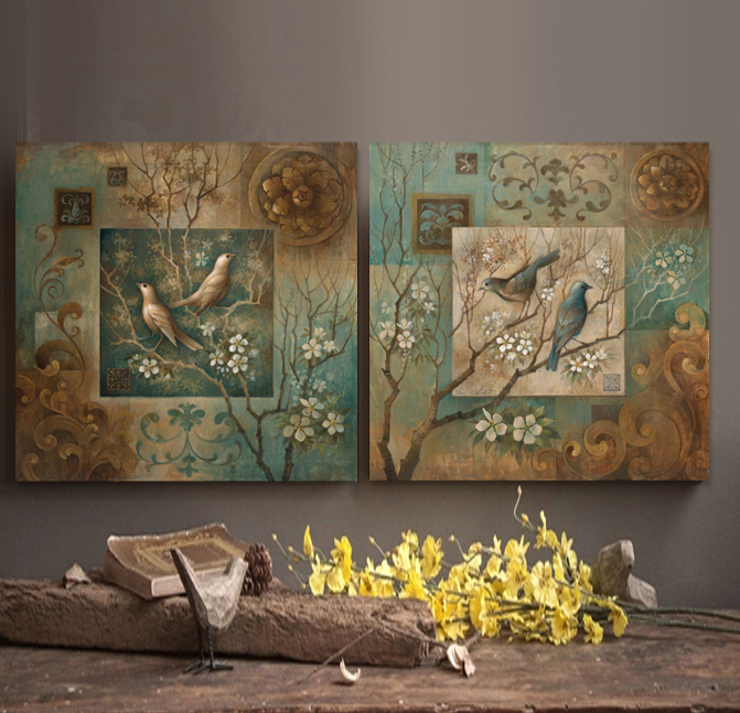 Bird oil painting canvas wall art home decor living room Home decor sculptures