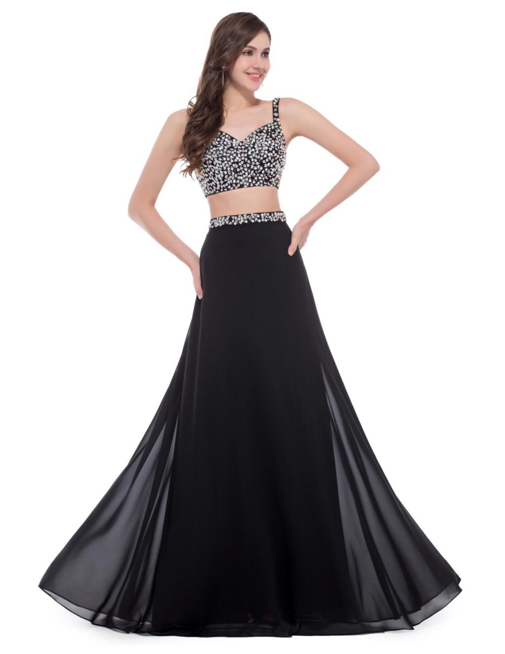 Grace Karin y Black Two Piece Prom Dress Designer