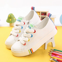 Kids Shoes For Girl Children canvas shoes boys Candy color laces 2017 Spring Autumn white sneakers children single shoes girls(China (Mainland))