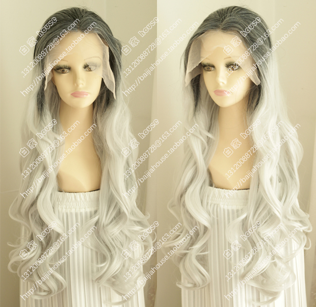 2015 new Lace Front wig Long curly gray hair Fashion sexy women wig party wigs Christmas party wigs<br><br>Aliexpress