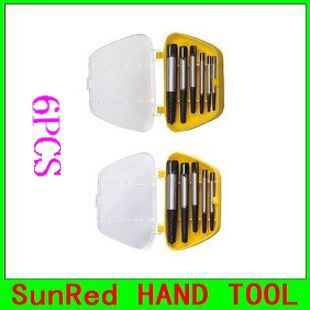 SunRed BESTIR taiwan excellent CRV steel 6pcs Broken Bolt Screw extractor industry type repair tools NO.93412 freeshipping(China (Mainland))