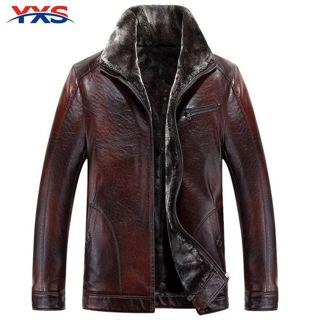 YXS-5PY45 2015 Brand Натуральная Кожа Толщиной Теплая Шерсть Лайнер Мужская Замши ...