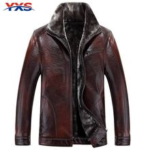YXS-5PY45 2015 Brand New Genuine Leather Thick Warm Wool Liner Men'S Suede Lambskin Leather Coat Winter Leather Jacket For Men(China (Mainland))