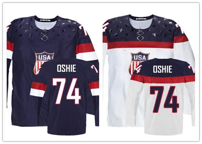 2014 Customize Olympic T.J. Oshie USA Jersey Stitched Sochi Team USA 74 TJ Oshie Olympic Jersey American Hockey Jersey(China (Mainland))