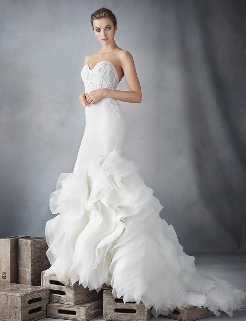 8 Wedding Dresses Bodice Wedding Dresses Mermaid 2016 Fashion Puffy Ruffles Bridal Gowns