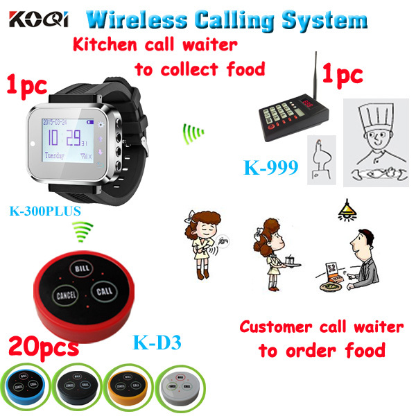 Quick Service Pager System For Kitchen Calling Waiter Server One Kit Of One Keypad 1 Watch 20 Button 3-Key CALL BILL CANCEL(China (Mainland))
