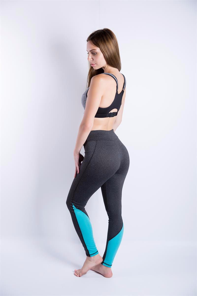 2016 Patchwork Leggings Stitching High Elasticity Slimming Pant Activity Women Pink and Blue Breathable Workout Leggins Pants
