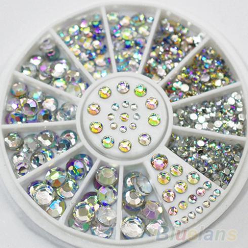 New Hot Sale 5 Sizes White Multicolor Acrylic Nail Art Decoration Glitter Rhinestones 0008 01D8(China (Mainland))
