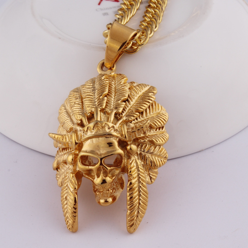 2016 hip hop Gold Chain For Men Gift 24K Real Gold skull pendant Statement Necklace Mens bling Jewelry Bijoux collier maxi colar(China (Mainland))