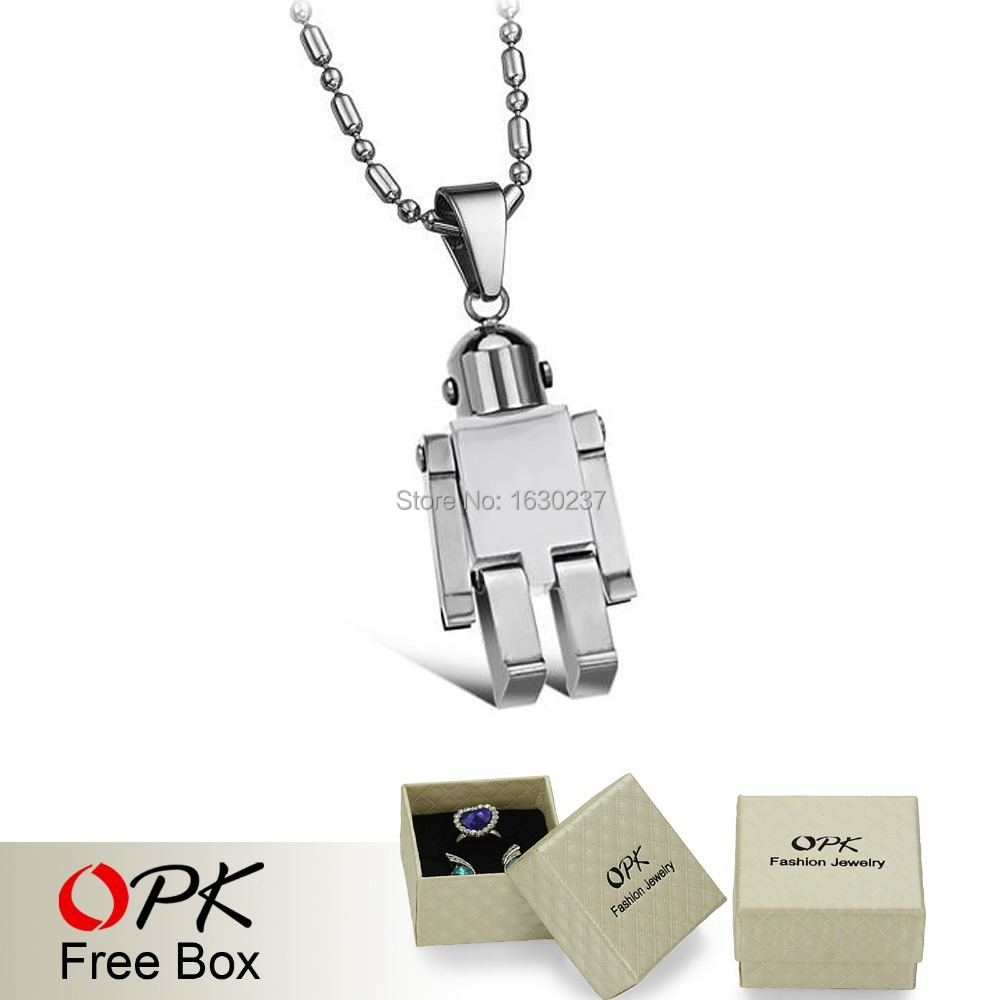 OPK Top Quality Stainless Steel Robot Pendent Necklace Anti-allergy, free shipping fashion necklace for men/ boy/ baby, 409(China (Mainland))