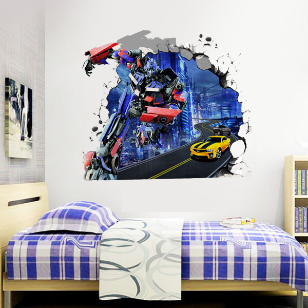 Transformers superhero 3d wall stickers kids rooms mural for Mural lettering