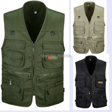 Spring and autumn male vest outdoor casual multi-pocket quinquagenarian 100% cotton mesh vest waistcoat(China (Mainland))