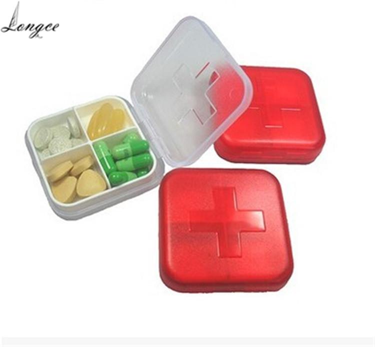 CYYP0014# 6.5*6.5*3.1CM Portable 4-Slot Folding Pill Box Convenient Medicine Case Tablet Splitter Medical Pill Box(China (Mainland))