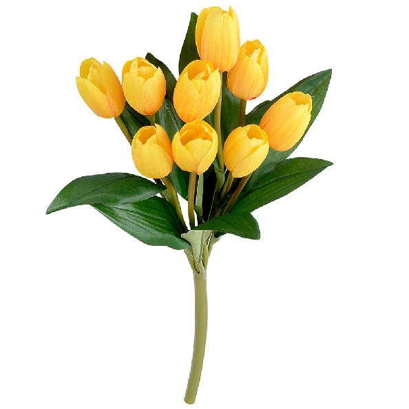 (6 Pcs/Lot) High Quality Silk Flower Tulip Bouquets (9 Heads/Bunch) Artificial Flowers Home Decor(China (Mainland))