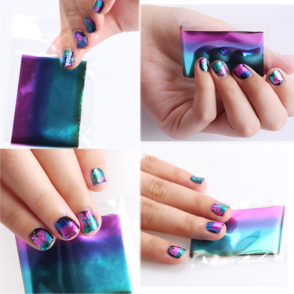 10/30pcs 4*20cm Mix Color Nail Art Fittings Transfer Foil Stickers Paper Starry Sky Shining Design Nail DIY Nail Tips Decoration(China (Mainland))