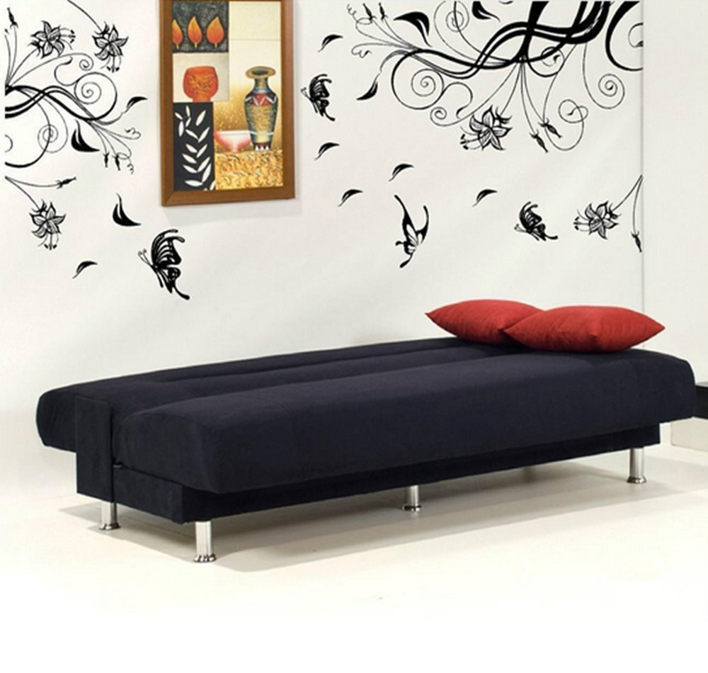Large black tree flower vine blossom wall sticker mural for Black tree wall mural