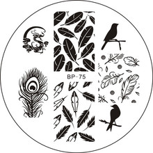 Birds Dragon Feather Nail Art Stamp Template Image Plate BORN PRETTY BP75