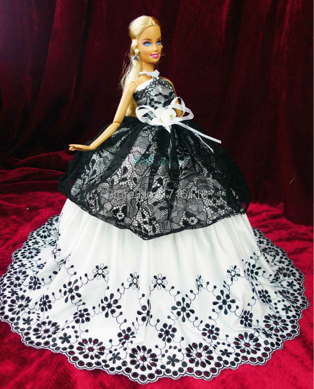 Strapless Gown Wedding ceremony Lace Robe Dance Dinner Occasion Lace Clothes Necklace For Barbie Doll Garments Black White Child Toys Present