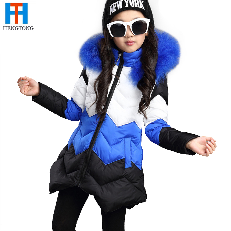 New 2015 Brand Casual Children Parka Girls Winter Coat Duck Cooton Long Thick Hooded Winter Jacket For Girls