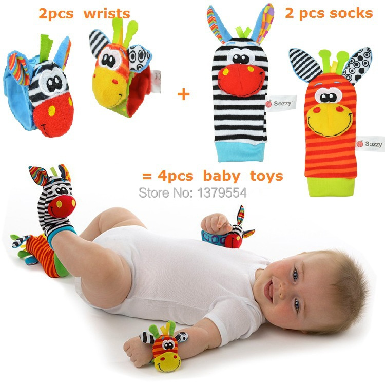 Free Shipping New cute Sozzy 4 Pcs/lot Classic Baby Rattle Toys Wrist Strap Ringing Bell Foot Socks Plush Baby Toys(China (Mainland))