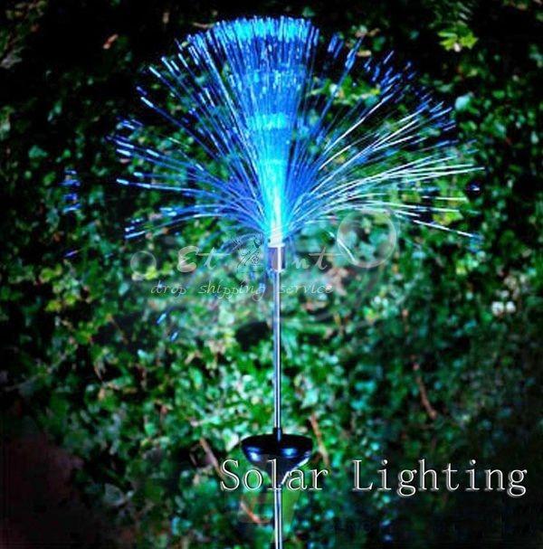 2 X solar fiber optic lights colorful color interpolation to lawn light Solar Lighting(China (Mainland))