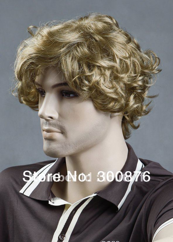 Stylish Short Men Hair Wig,Fashion Full Curly Golden Color Wig,Quick delivery,High quality,100% KANEKALON - Loutoff wig store