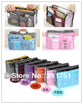Promotion 14 colors  mix order colors mp3 phone cosmetic storage organizer nylon bag in bag handbag girl women for home travel