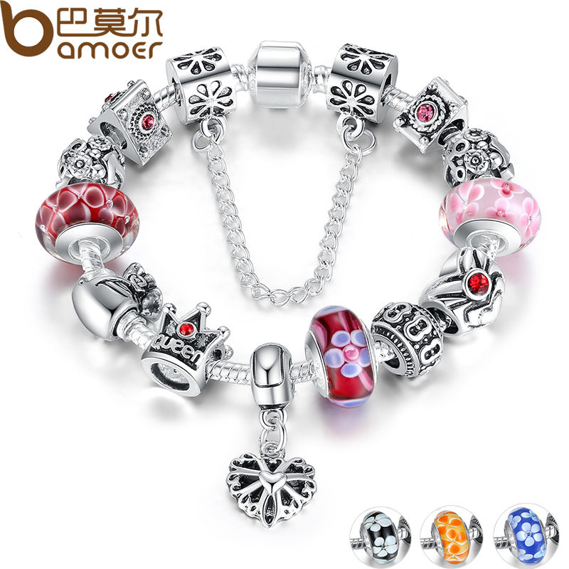 Bamoer Silver Plated Bracelet &amp; Bangles With Queen Crown Hearts Charms Bracelet for Women European Beads Jewelry  PA1823<br><br>Aliexpress