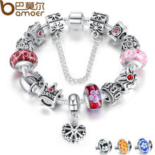 BAMOER Queen Jewellery Silver Charms Bracelet & Bangles With Queen Crown Beads Bracelet for Ladies PA1823