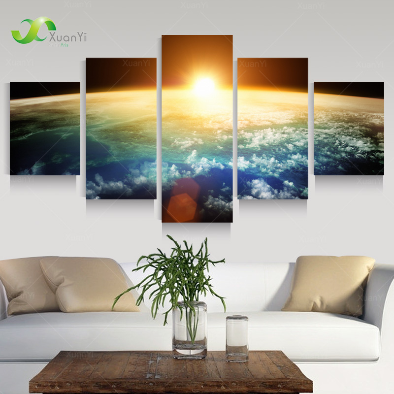 5 panel modern sunrise space universe picture painting for Home decor wall hanging